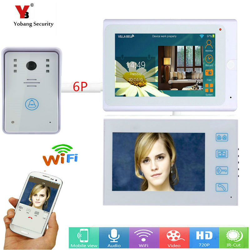 Yobang Security 2*7inch monitors Wired / Wireless Wifi IP Video Door Phone Doorbell Intercom Entry System with white Wired Cam цена 2017