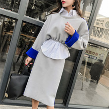 Casual Fashion Women Clothing Sets of Faux Two Piece Blouse and Slit Bud Skirt Set