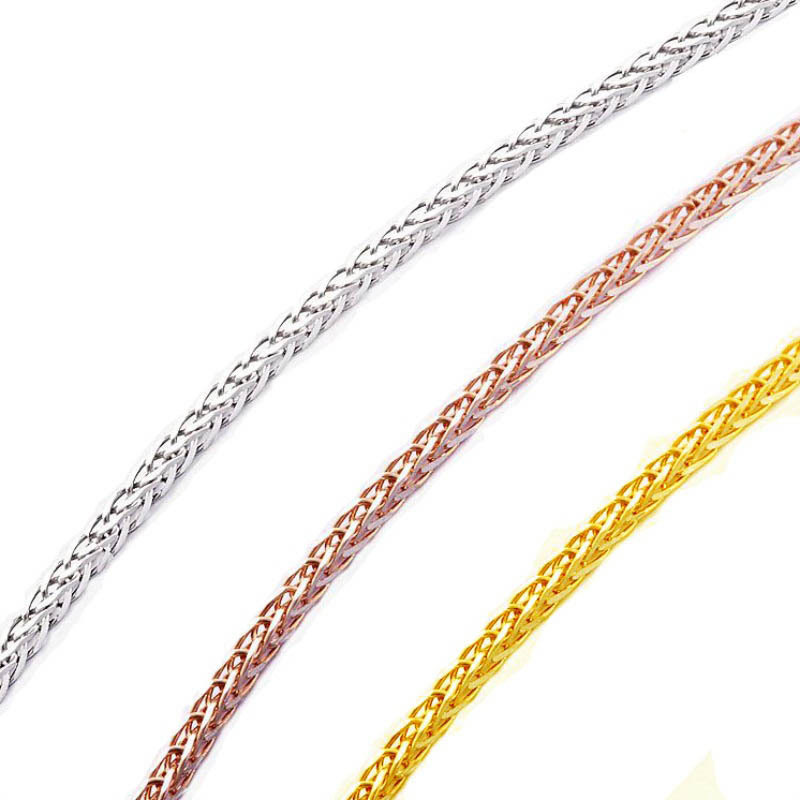 ANI 18K Rose Gold (AU750) Chain Necklace for Women Engagement Three Color Fine Chopin Chain for Pendant 16 inches or 18 inches стоимость