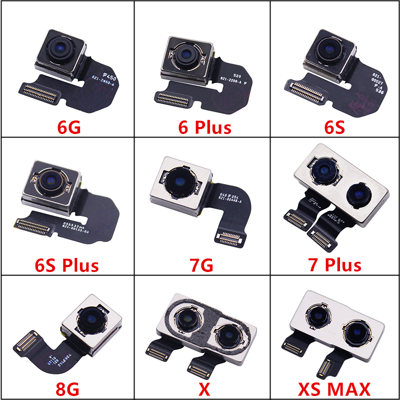 1Pcs 100% Tested For IPhone 5S 6 Plus 6S 6S Plus 7 7 Plus 8 8Plus X XS MAX Back Camera Module Flex Cable Replacement Parts
