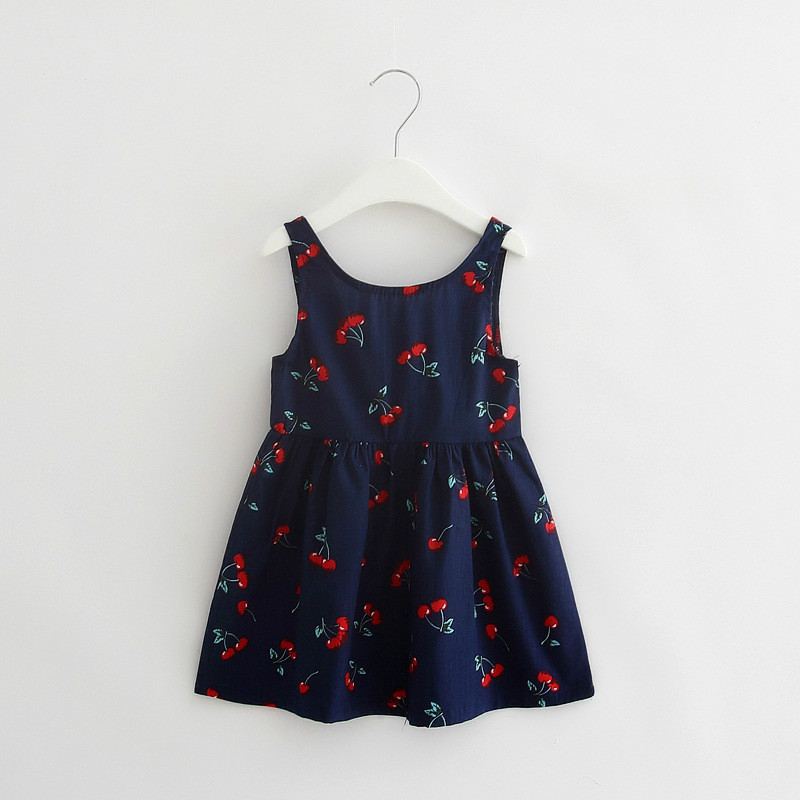 198d9364a24 Holiday Baby Girl Blue Cherry Print Dresses for Girls Summer Cotton Clothes  Newborn Infant Sundress Clothes for Kids Daily Dress-in Dresses from Mother  ...