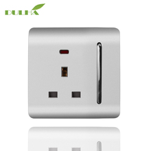 DULHA 13A 1 Gang UK Wall Sokcet Electrical 3-Pins Hole Sockets EU US AU Plug Outlet PC Panel With LED Light Free Shipping
