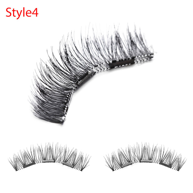 1 Set 3D Triple Black/Brown Magnetic False Eyelashes Soft Full Stripe Magnet Eye Lashes Beauty Makeup Extension Tools wimpers False Eyelashes