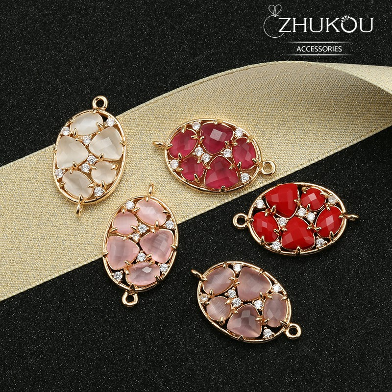 ZHUKOU 15*26mm Brass Cubic Zirconia Crystal Connectors DIY Jewelry Findings Accessories, Model: VS332 Hole:1.2mm