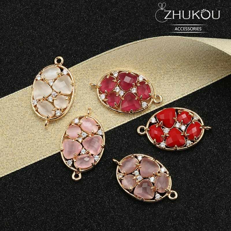 Zhukou 15*26 Mm Kuningan Cubic Zirconia Crystal Konektor DIY Temuan Perhiasan Aksesoris Model: VS332 Lubang: 1.2 Mm