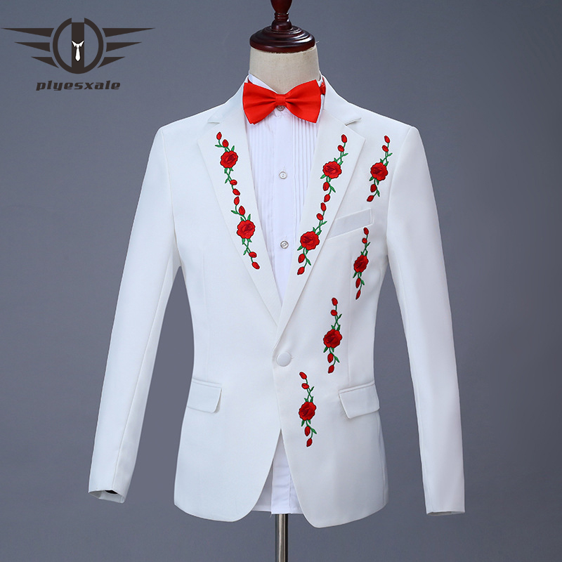 Plyesxale White Blazer Men 2019 New Red Pink Rose Pattern ...