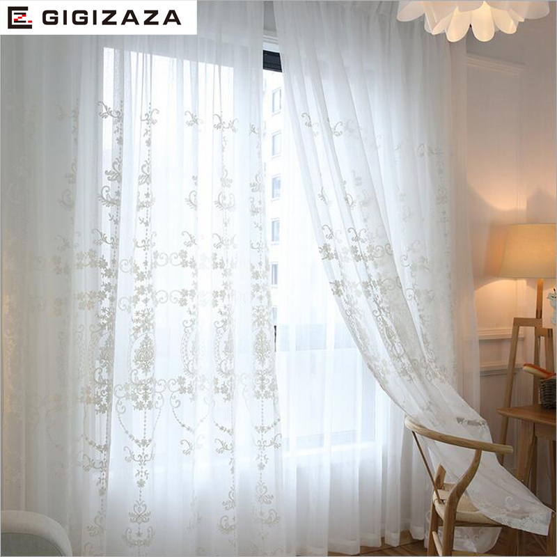 GIGIZAZA Mr John White Jaquard Voile Curtains For