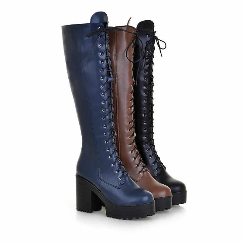 ASUMER 2020 sıcak satış yeni gelmesi kadın botları moda katı renk bayanlar çizmeler fermuar lace up diz yüksek çizmeler büyük boyutu 34-43
