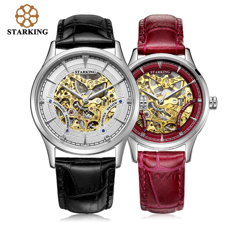 все цены на  STARKING Automatic Self-wind Lovers Watch Relogios Stainless Steel Genuine Leather Skeleton Mechanical Wrist Watches AM/L0185  в интернете
