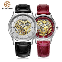 STARKING Automatic Self-wind Lovers Watch Relogios Stainless Steel Genuine Leather Skeleton Mechanical Wrist Watches AM/L0185