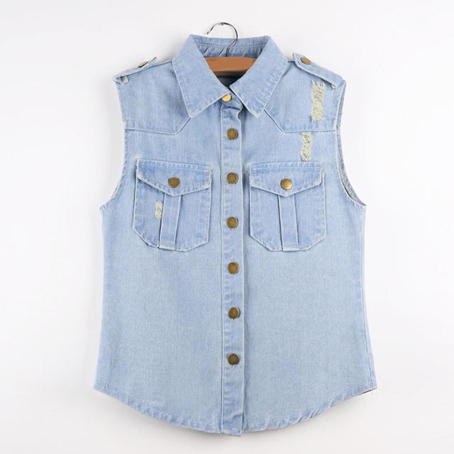 Chaleco ocasional da vuelta abajo botón mangas Light Blue Denim chaleco chaqueta de los pantalones vaqueros mujeres abrigo