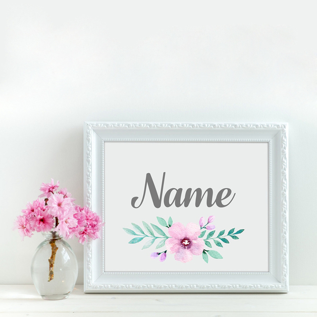 custom girl s name with flower canvas art painting and poster