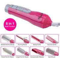 8 in 1 Multifunctional Electric Hair Dryer Brush Blow Dryer Rotating Comb Hair Brush Straightening Curler Styling Tools pj