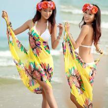 Women Beach Dress Sexy Sling Beach Wear Dress Sarong Bikini Cover-ups Wrap Pareo Skirts Towel Open-Back Swimwear #829