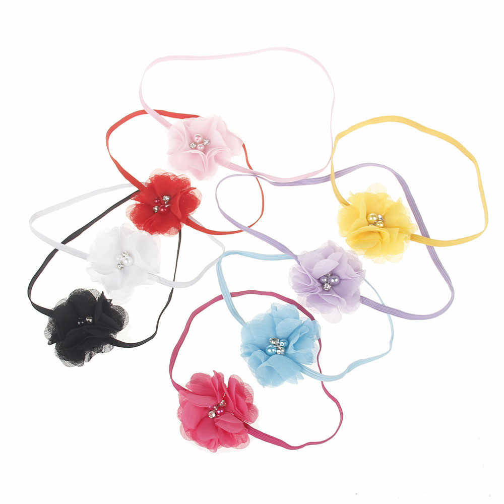 2019 Cute Newborn Baby Headband Lace Flower Pearl Girl Hair Accessories Solid turban Head Bands For Baby Girls Elastic#U10