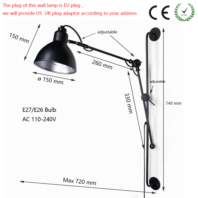 E27 New Replica Designer adjustable antique modern industrial/Long swing arm wall lamp lights for Bathroom Vanity/sconce fixture