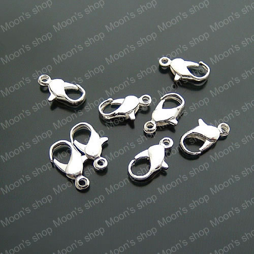 (17578)Fashion Jewelry Findings Jewelry Pendants Connector Iron Silver 12*5MM Lobster Claw Clasp 100PCS
