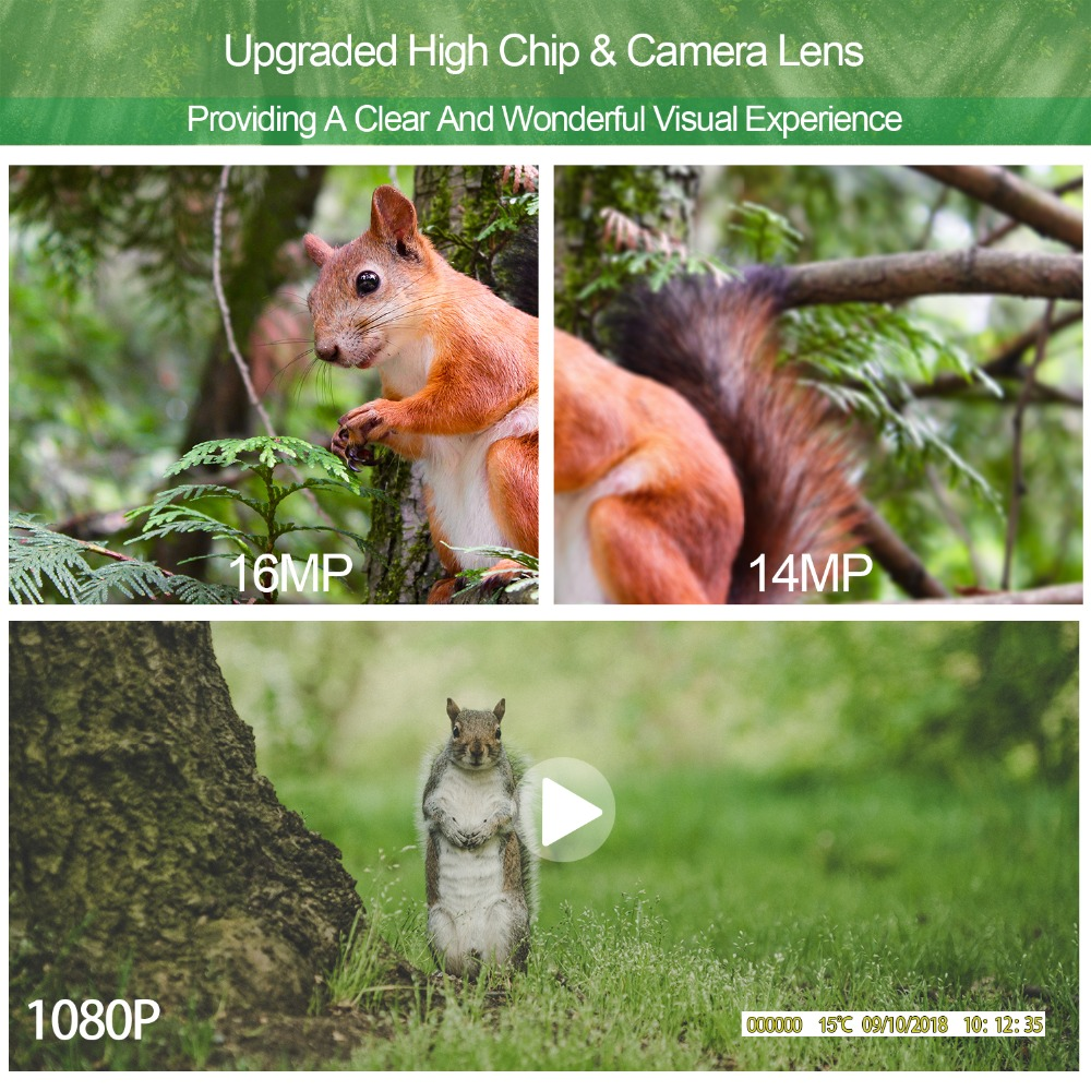 Goujxcy hc801 caça câmera 16mp trail câmera