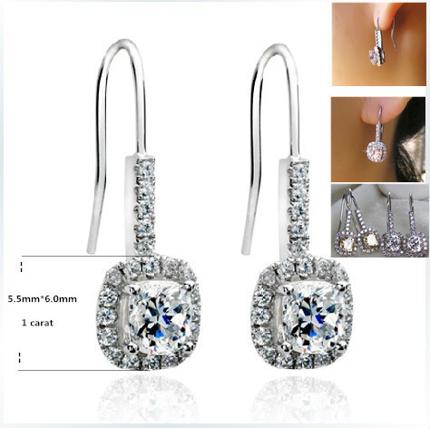 1ct Piece Sona Synthetic Diamonds Earrings For Gentlewomen 925 Sterling Silver White Gold Color Earring