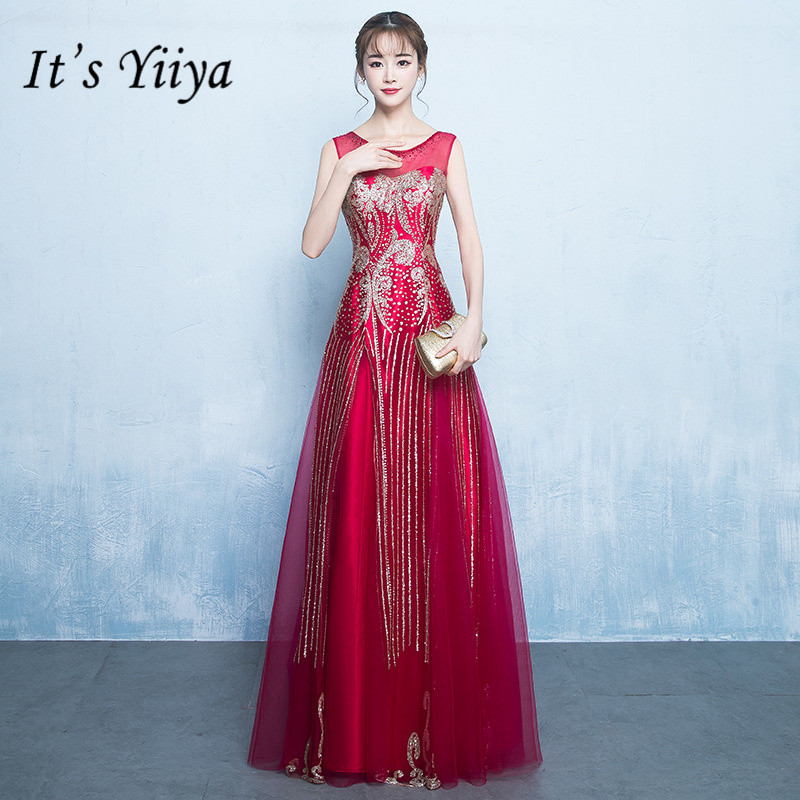 It's YiiYa Vintage Wine Red Gold Pattern   Bridesmaid     Dresses   Elegant O-neck Sleeveless Back Lace Up Slim A-line Frocks H138