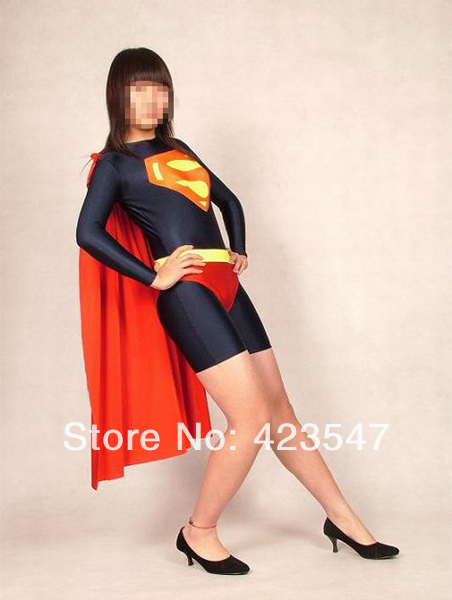 Black & Red Superman Leotard Style Supergirl Superhero Costume Halloween Carnival costumes play