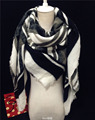 2015 Hot Sale Za Brand New Women Autumn & Winter Thick Cashmere Wool Black & White Color Block Stripes Big Square Scarf Pashmina