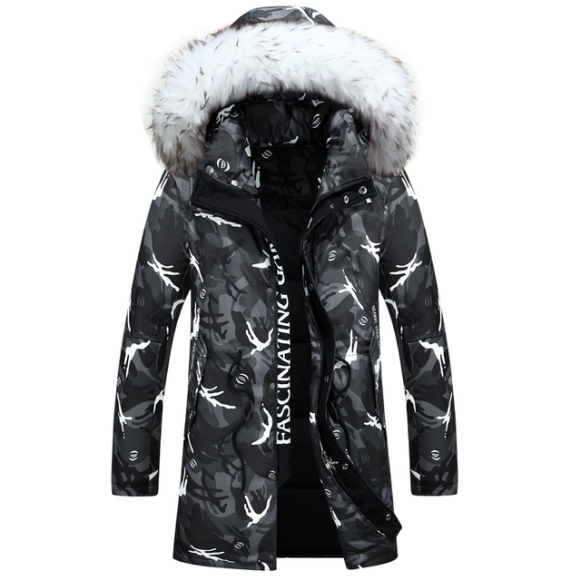 2016 New Winter Down Jacket Men's Fashion Camouflage Long Jacket Thick Warm Casual Hooded Fur Collar White Duck Down Coats W156