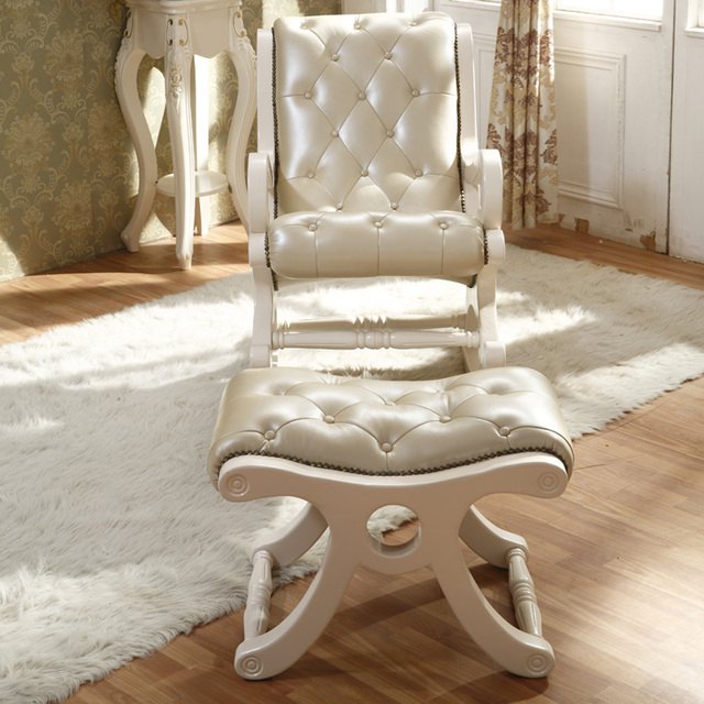 Charming French Rocking Chair European Solid Wood Chairs Balcony Casual Leather  Recliner Happy Old Ivory White Sofa