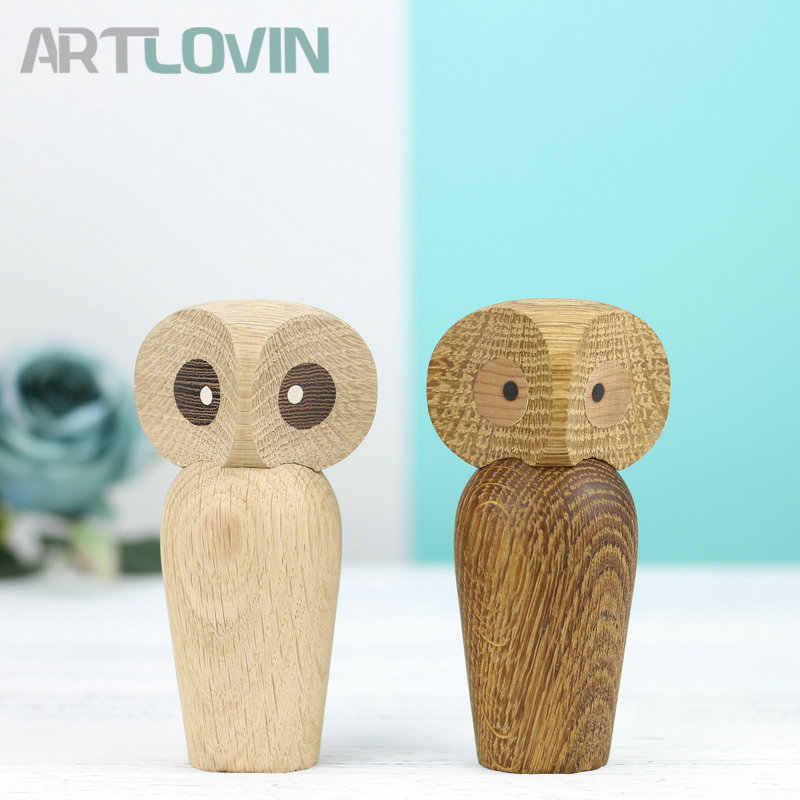 New Arrival Creative Nordic Denmark Solid Wooden Owl Ornament Home Decoration Figurines Mascot Nice Wood Animal Puppet Kids Gift