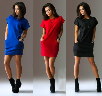 Robe Cocktail Sexy Ever Pretty Round Neck Mini Short Sleeve Dress Black Red Blue Solid Colors Prom Party Graduation Dresses