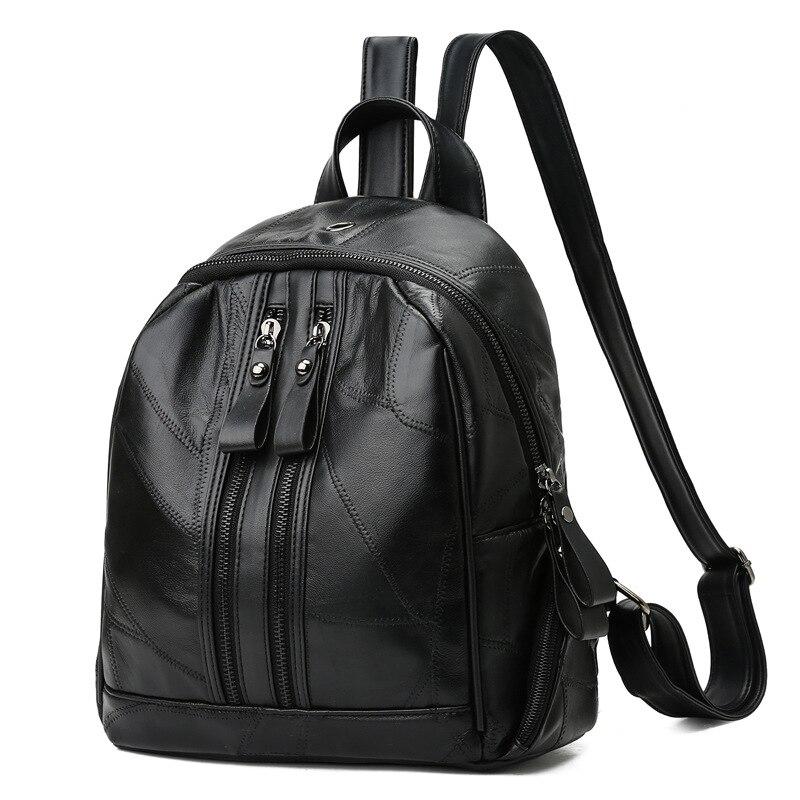 Shengxilu Sheepskin Women Backpacks Genuine Leather Female Rucksack New Large Capacity Travel Preppy Style Black Women Bags #2