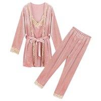 Autumn Winter Pajamas Set Women Set Deep Sleep Gold Velvet Sexy Pajama Women Pajamas Sets Long Pants Set Robe Women