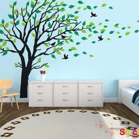 Grand vinyle vert arbre wall sticker amovible chambre mur pictures home décoration murale stikers