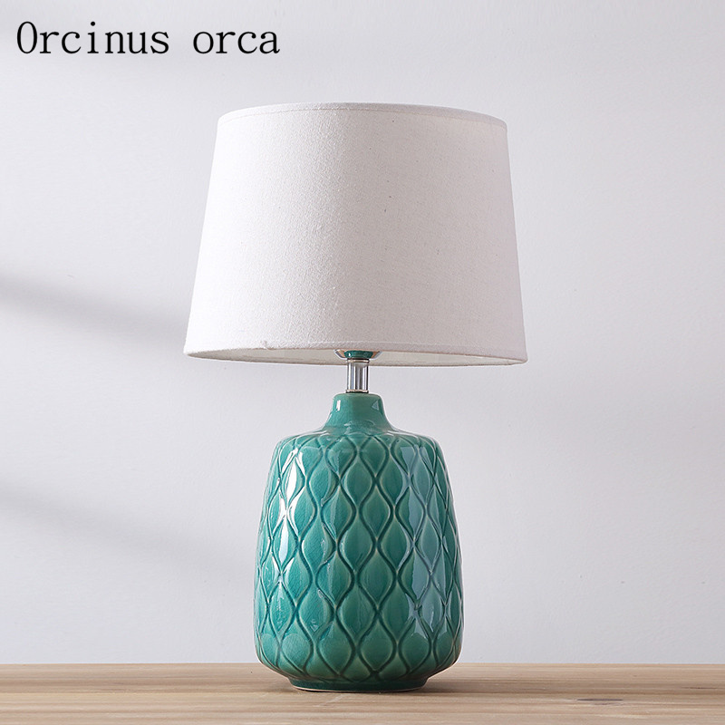 Nordic modern minimalist ceramic desk lamp living room bedside lamp American style creative and fashionable table lamp|Table Lamps| |  - title=