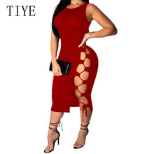 TIYE High Elastic Summer Hole Dress Elegant Sleeveless Hollow Out Bodycon Bandage Women Celebrity Party Club Vestidos