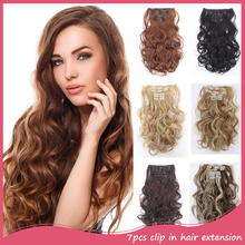 Hairpieces colored wavy synthetic extensions natural clip curly in hair