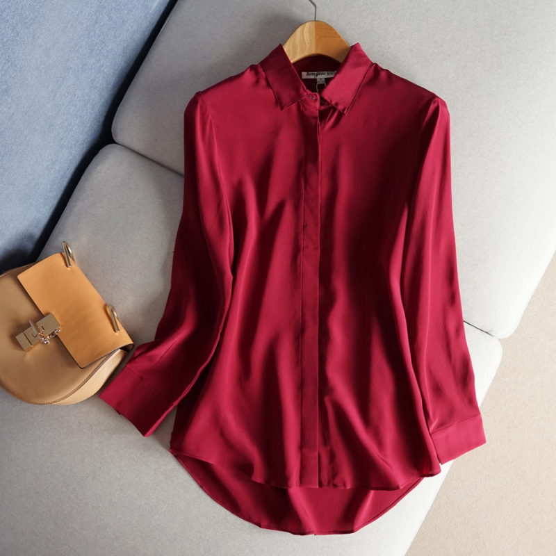 Basic silk shirts long silk crepe de Chine shirts long sleeves simple slim pure silk silk