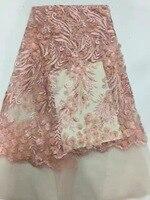 Francuski koronki ostatnie koronki wysokiej jakości 3D aplikacja kwiat koronki tkaniny dla różowy bridal paciorkami koronki tkaniny na sukni SH10521