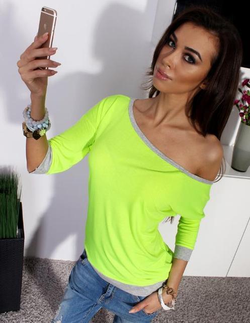 624031371f7fbb Off Shoulder Women Blouses Tops Neon Green Blue Blouse Women Fall Fashion  Plus Size Half Sleeve Shirt Causal Pink Top
