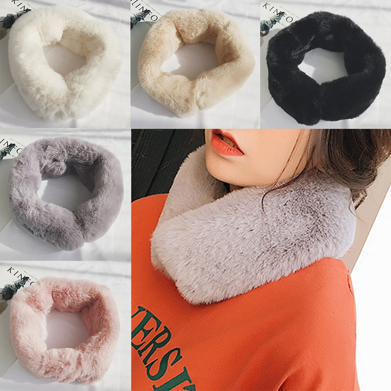 New Solid Color Angora Plush Neck Magnet Automatic Adsorption Fleece Warm Scarf Winter