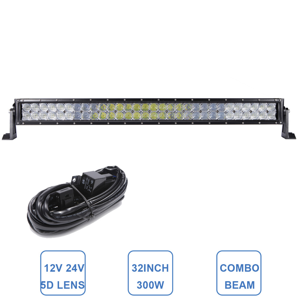 5D 32'' 300W Offroad LED Light Bar Car SUV Boat ATV Wagon Truck Tractor 4WD Auto 4X4 Pickup RZR 12V 24V LED WORK LAMP Headlight 9 90w 5d led work light bar spot flood auxiliary headlight 12v 24v offroad 4wd 4x4 tractor ute truck suv atv led driving lamp