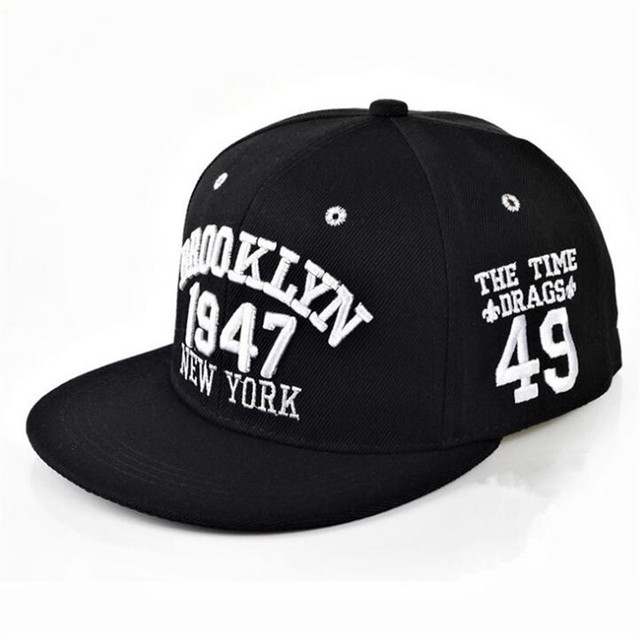 173d8f4f87945 New Fashion Men s Snapbacks Baseball Caps Black White 1947 BROOKLYN Letters  Embroidery Hip Hop Cap Sun