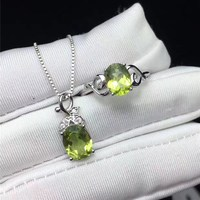 Fine Jewelry 100% Silver Sets For Women Ring Necklaces Topaz Natural Green Oval Gemstone Pendants Elegant Wedding Set CCS003 3