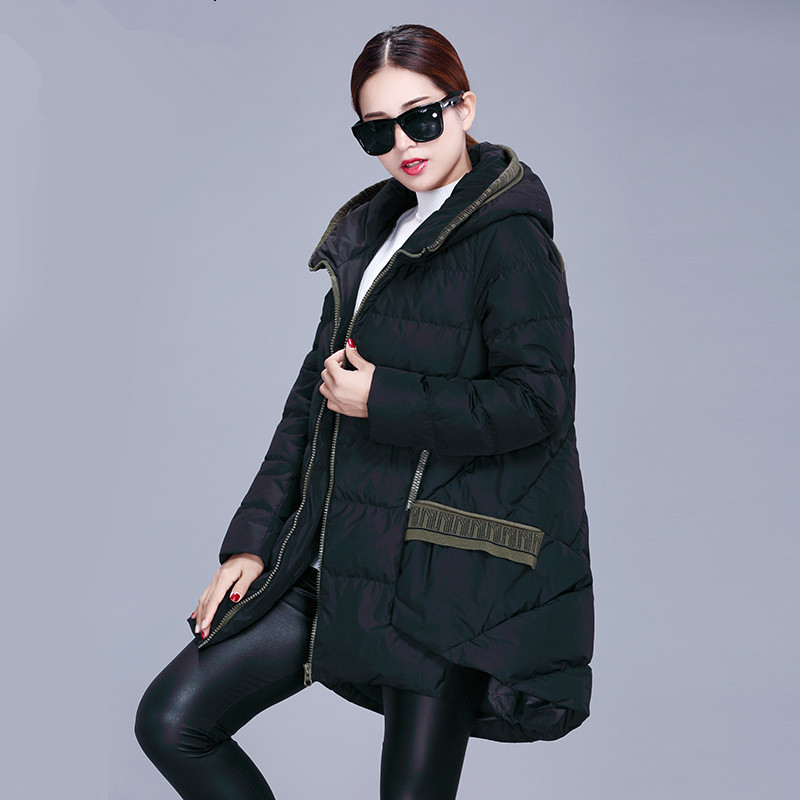 European 2016 New Duck Down Jacket Women Knit Stitching Plus Size Thick Long Jackets Casual Loose Coat Warm Parkas JA163