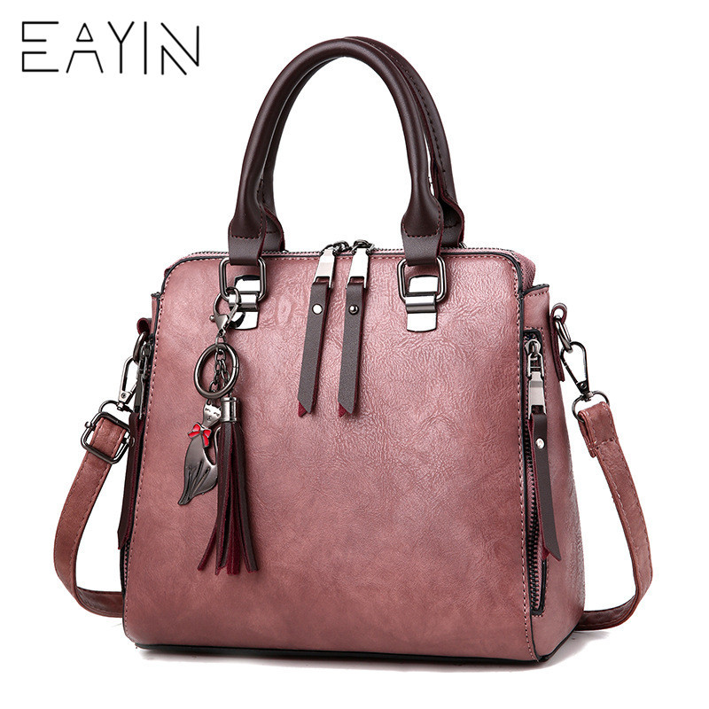 EAYIN Famous Brand Leather Handbags Women Tassel Casual Tote Bags Vintage Women Handbags Ladies Crossbody Bags bolsas feminina цена
