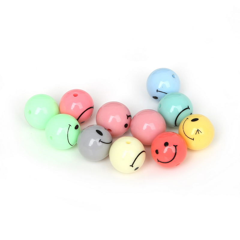 12mm/14mm/16mm/18mm DIY Round Beads Acrylic Smile Ball Spacer ...