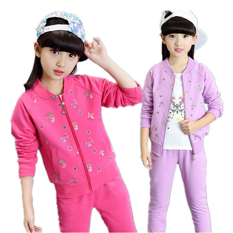 Girls clothes Spring Autumn Kids Sport Suits 2017 Children girls Clothing sets Coat+t-shirt+trousers 3pcs Outfits baby Tracksuit toddler tracksuit autumn baby clothing sets children boys girls fashion brand clothes kids hooded t shirt and pants 2 pcs suits