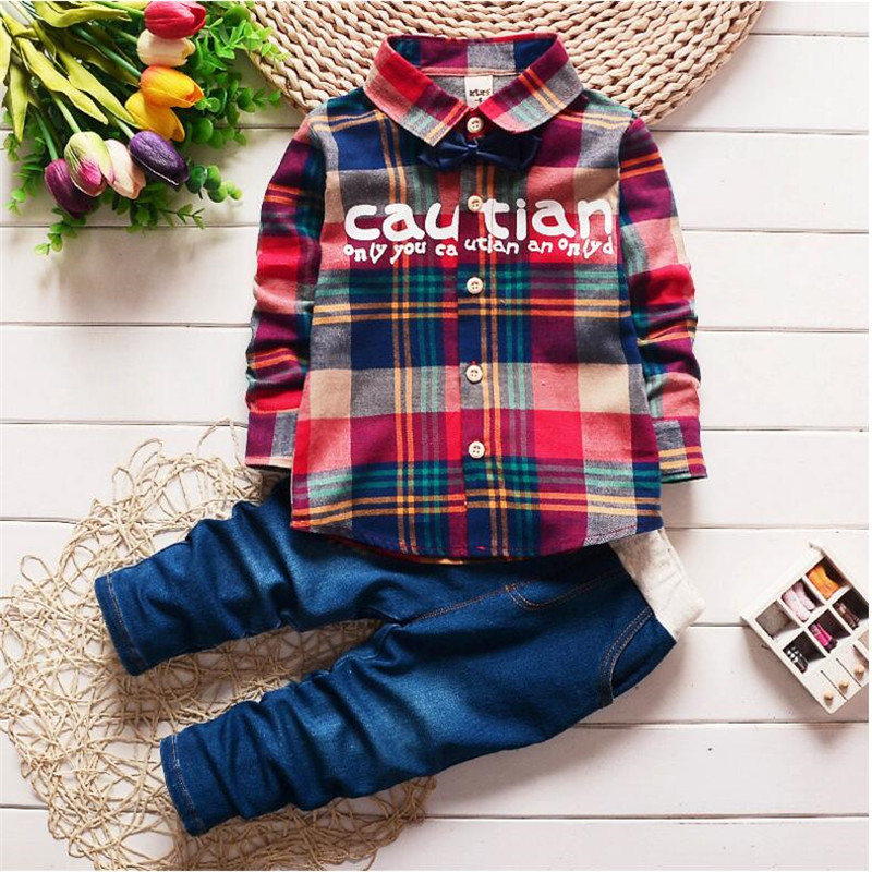 2017 Spring Kids Clothing Set Boy Warm Clothing Sets Childrens Fashion Plaid Suit Boys Clothes Baby Kids Sets