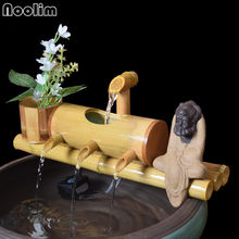 Bamboo Aquarium Water Recycling Feng Shui Decoration Tube Water Fountain Stone Trough Filter Office Desktop Furnishings(China)