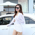 Long chiffon shirt  fold sunscreen summer elastic jacket female sexy cool Blouse brand flare sleeve Cloak Ladies new year loose